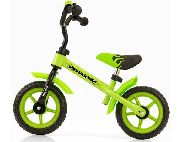 Детский велосипед – бегунок с резиновыми надувными колёсами и металлической рамой 12″