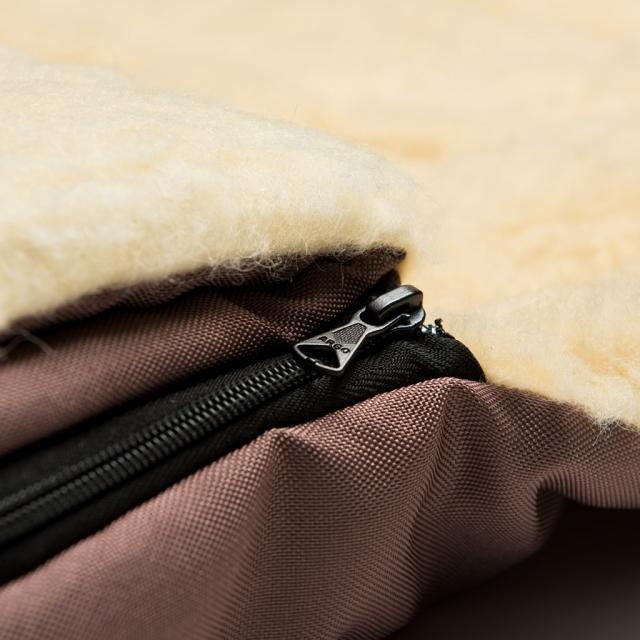 2-daļīgs ratu guļammaiss ar aitas vilnas oderi un pagarinājumu brūna krāsa / 106 sm