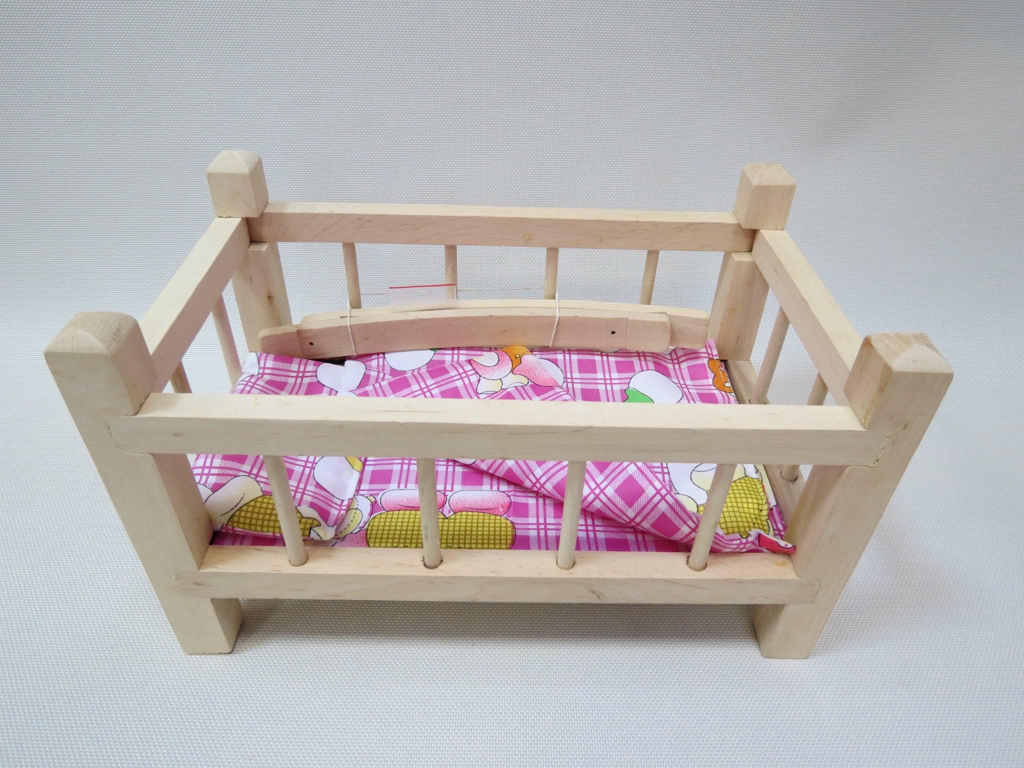 Кроватка для кукол деревянная малая