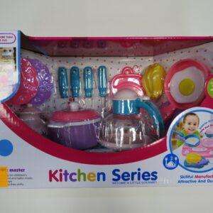 Игровой набор посуды для кукол с кухней