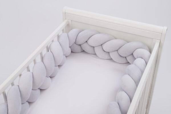 Мягкий Бортик Косичка velour 06 для детской кроватки PUER
