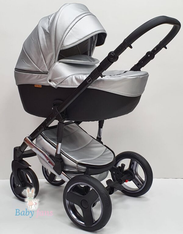 Bērnu Ratiņi Mikrus Baby Collection eko āda SILVER 2in1