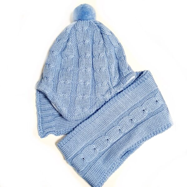 Cepure šalle komplekts jaundzimušajiem 2 slāņu 38 – 40 cm