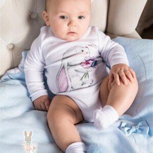 Бодик для новорожденных с длинными рукавами ЗАЙЧИК