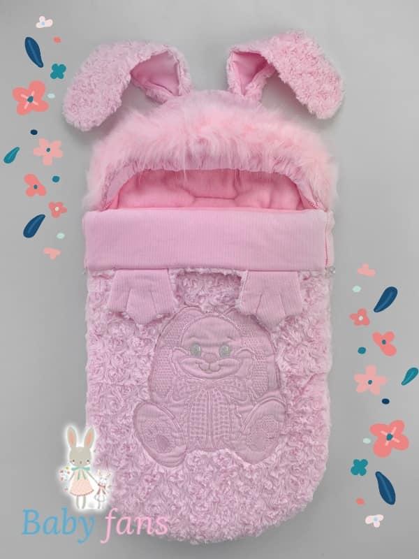 Конверт для выписки новорождённого Розовый заяц