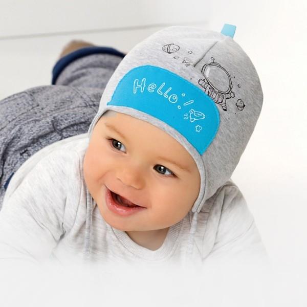 Шапочка для новорожденного мальчика 36-38 размер